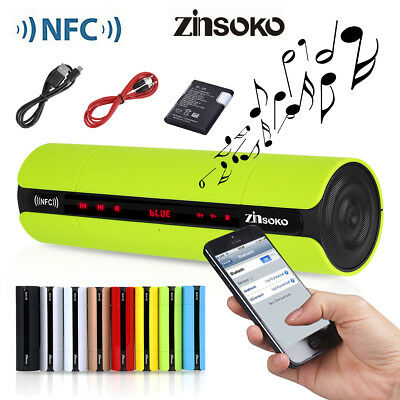 Bluetooth Lautsprecher Sound Box Musikbox LCD NFC Speaker AUX FM Radio Tragbar