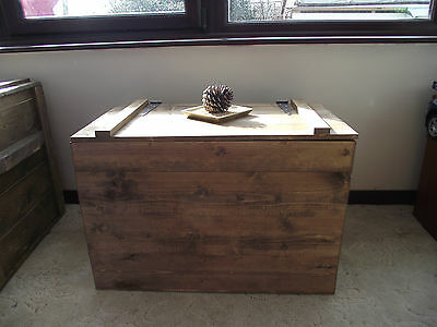 Rustic Coffee Table Wooden Chest Trunk Blanket Box