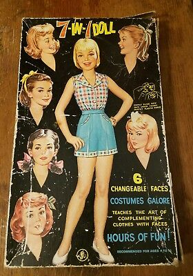 Vintage 7-In1-Doll 6 Changeable Faces By Dje Toys In Original Box