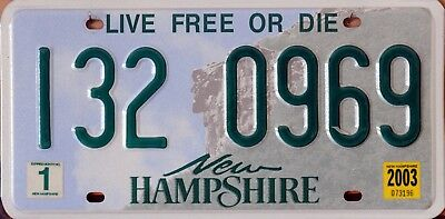 """USA Number Licence Plate NEW HAMPSHIRE """"LIVE FREE OR DIE"""""""