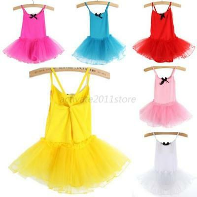 US Toddler Girls Kids Ballet Dance Dress Chiffon Leotard Tutu Dress Costume 2-7Y