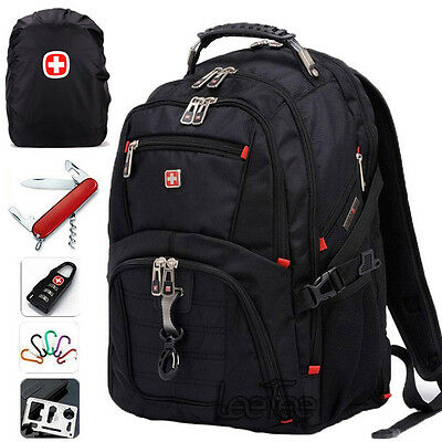 "Waterproof Swissgear Backpack 15"" 17"" Laptop Bag Daypack Travel Sports Rucksack"