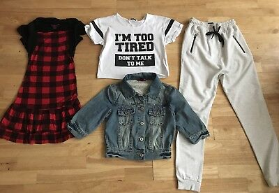 Bundle girls clothes age 11-12 years next new look tracksuit bottoms dress jean