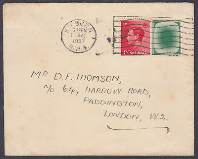 """1937 KEVIII 1d scarlet+Tied green Poached Egg 'Testing' Stamp; """"Mixed Franking!"""""""
