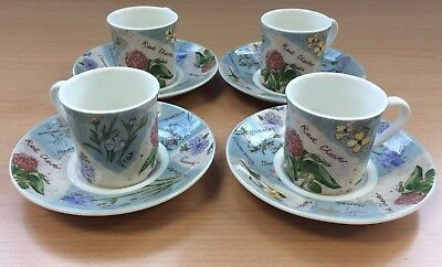 x4 Set of Doulton Everyday Wildflowers China Coffee / Espresso Cups + Saucers #1
