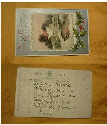 OLD 1900 - 1910 era VINTAGE CHRISTMAS POSTCARD, HOUSE OF THE RIVER