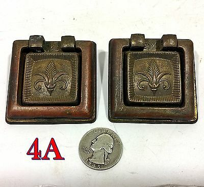 Pair Vintage/Antique Square Brass Drop Ring DRAWER PULLS handles knobs