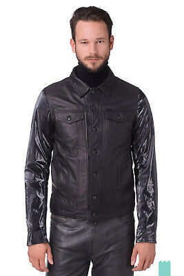 RRP€500 DIESEL Size L L-ELSHAR-V 100% Chrome Free Leather Contrast Sleeve Jacket