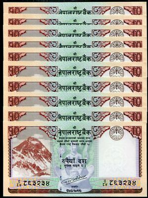 Nepal 10 Rupees 2017 P New One Deer Picture Unc Lot 10 Pcs