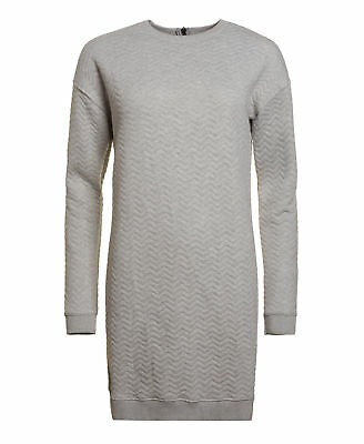 New Womens Superdry Quilted Nordic Dress Grey Marl