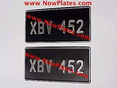 Pair of Brushed Chrome Pressed Number Plates 12x6ins