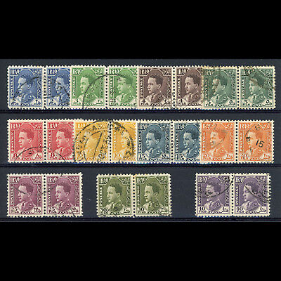 IRAQ 1934 2 fils to 40 fils Fine Used Pairs. SG 173-183. (AR297)