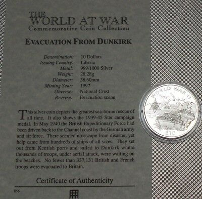 1997 Liberia Silver Proof $10 Coin  Wwii  Collection & Cert {2}