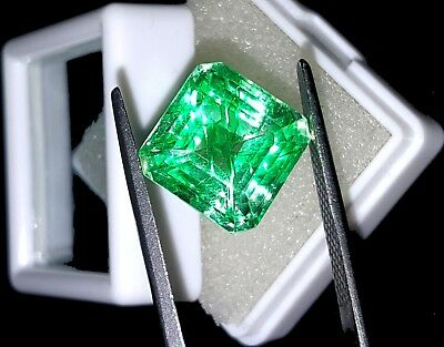 Excellent Square Shape 9.67 Ct Natural Certified Colombian Emerald