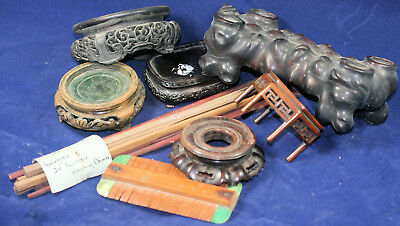 Various Chinese carved wood stands and other objects