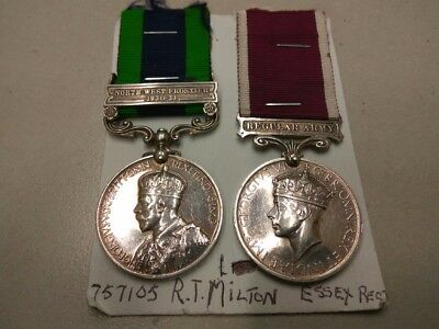 Long service medal pair Essex Regt NCO, N West Frontier 1930-31 and WW2 service