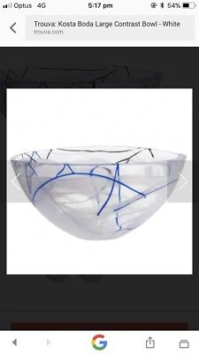 .Kosta Boda Large Bowl.Clear With Blue White And Brown Highlights