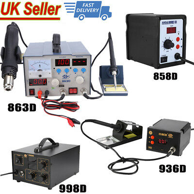 936/858D/998D Digital SMD Soldering Desoldering Station Hot Air Rework Gun Tool