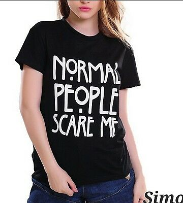 Maglia Donna Manica Corta Horror Story T-Shirt Maglietta Normal People Scare Me