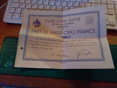 Documento Antico Club Alpin Suisse Sac Cas Schweizer Alpen Club 1934 Alpinismo