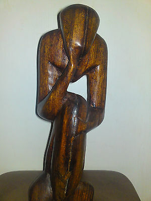 Wooden African Tribal Figure Statue of Female Hand Carved