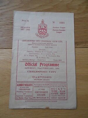 Official Programme Chelmsford City V Dartford 1957/58 Southern League