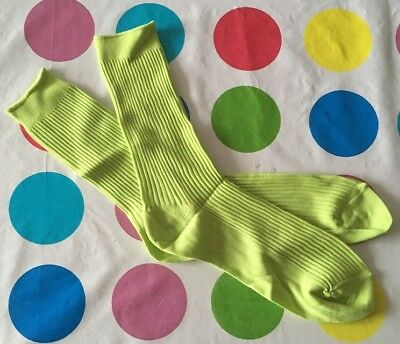 new oldstock mens Mod Vintage 1970s Lime Green socks Crimplene