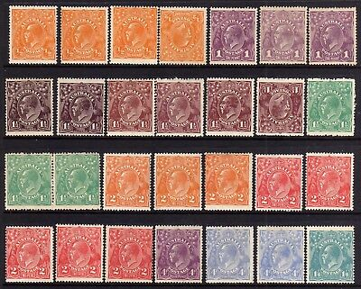 Australia Kgv Heads Mint Lot G: 1918-23 Single Wmk Shades, 28 Stamps