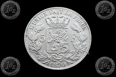 BELGIUM 5 FRANCS 1870 / POSITION A ( LEOPOLD II ) SILVER coin (KM# 24) XF