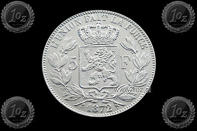 BELGIUM 5 FRANCS 1872 / POSITION A ( LEOPOLD II ) SILVER coin (KM# 24) XF