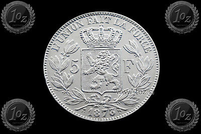 BELGIUM 5 FRANCS 1873 / POSITION A ( LEOPOLD II ) SILVER coin (KM# 24) XF