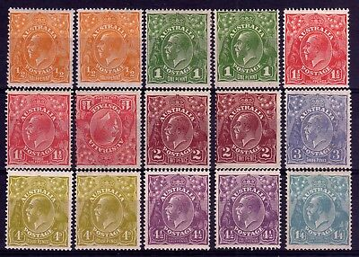 Australia Kgv Heads Mint Lot K: 1926-30 Multiple Wmk Perf 14 Shades, 15 Stamps