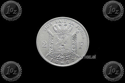BELGIUM 2 FRANCS 1867 French Text ( LEOPOLD II ) SILVER coin (KM# 30) F-VF