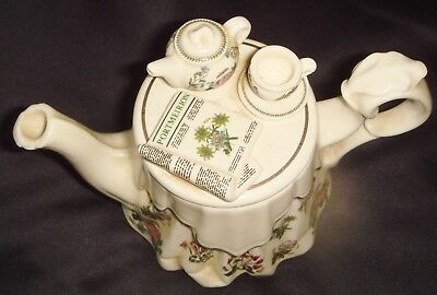 Portmeirion Miniature Teapot Lid Has Tea China And News Paper Set Out On Lid
