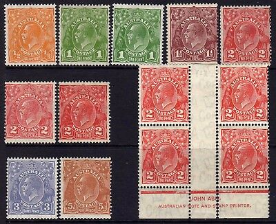 AUSTRALIA KGV HEADS MINT LOT M: 1931-6 C of A WMK SHADES, 13 STAMPS