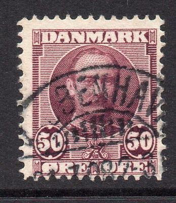 Denmark (Danmark) 50 Ore Red/Lilac Stamp c1907 Used