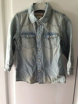 Boys H&M Denim Popper Shirt Size 12-18 Months