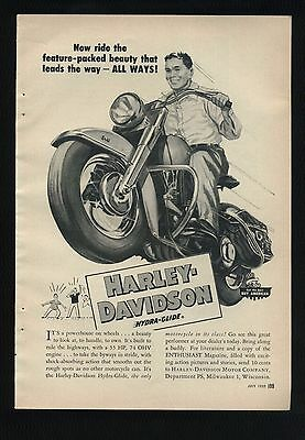 Vintage July 1953 HARLEY-DAVIDSON MOTORCYCLES Full-Page Ad: HYDRA-GLIDE