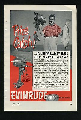 Vintage May 1953 EVINRUDE LIGHTWIN OUTBOARD MOTORS Full Page Ad