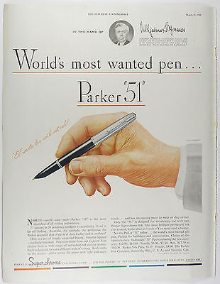 """Vintage 1948 PARKER """"51"""" Fountain Pen Full Page Magazine Print Ad: MOST WANTED"""