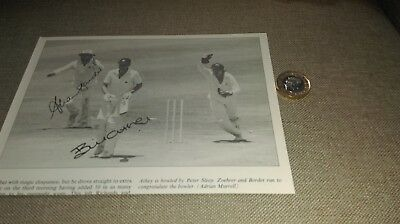 Allan Border SIGNED photo (from book) Australia Cricket = Bill Athey (England)