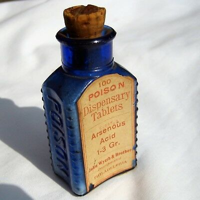 John Wyeth Poison Bottle = Cobalt Blue* Embossed -With Label & Contents - Rare*