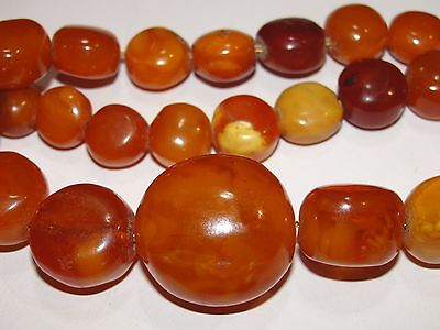 ANTIQUE NATURAL BALTIC AMBER BEADS GRADUATED NECKLACE EGG YOLK CHERRY 36.4g