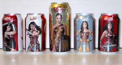 Wonder Woman Full Set 5 Limited Edition Collector Soda Can Dr Pepper Gal Gadot