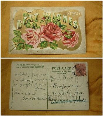 OLD 1900 - 1910 era VINTAGE CHRISTMAS POSTCARD, BEST WISHES, RED ROSES