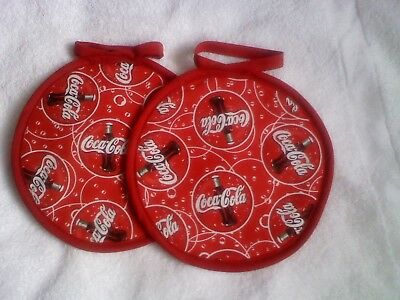 2 Coca-Cola-Coke designed fabric Hand-crafted~Fabric Pot Holders~New~flyingrosco