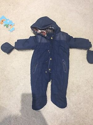 Navy blue quilted baby snowsuit 6-9 months
