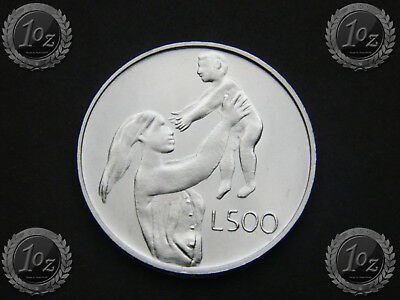 SAN MARINO 500 LIRE 1972 (MOTHER with CHILD) SILVER Comm. coin (KM# 21) UNC