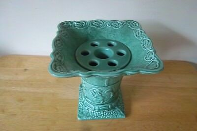 VINTAGE SYLVAC LARGE GREEN VASE/PLANTER No 858 18cms HIGH x 19cm SQ TOP RIM.