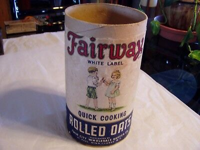 Rare Vintage Fairway Foods Rolled Oats Cardboard Canister Children Graphics
